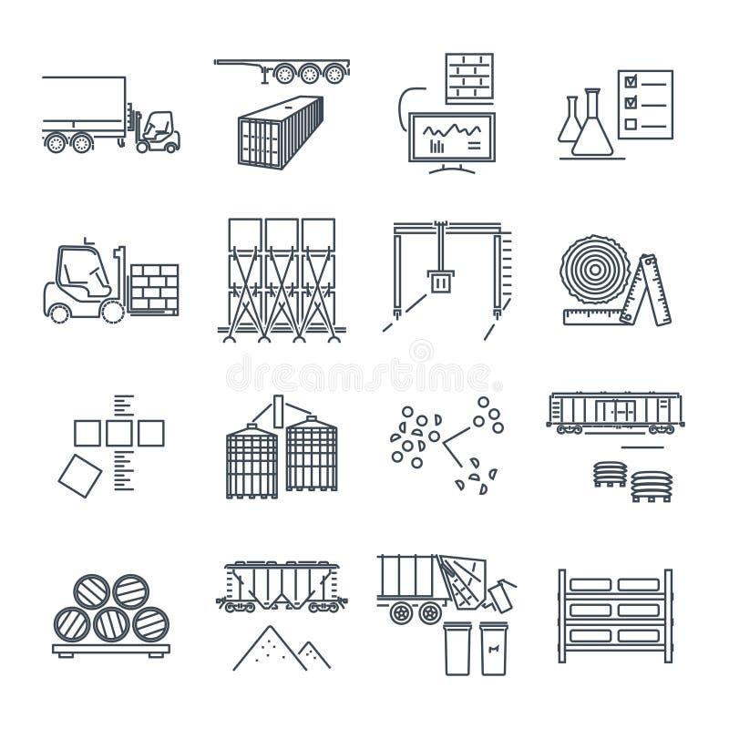 Set cienki kreskowy ikon składować, magazyn i wysyłać, royalty ilustracja