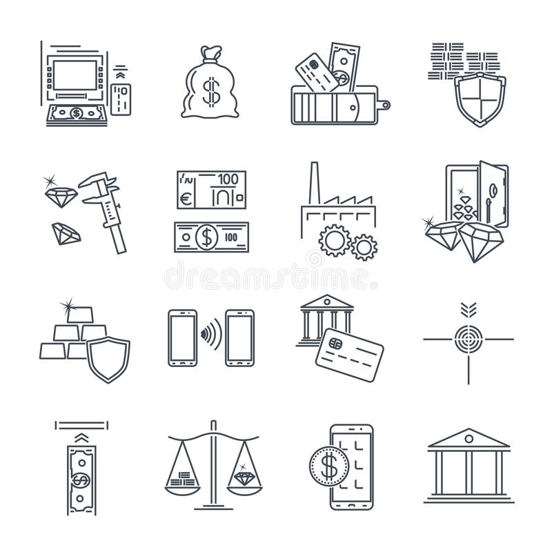 Set cienki kreskowy ikona biznes, finanse, bank ilustracji