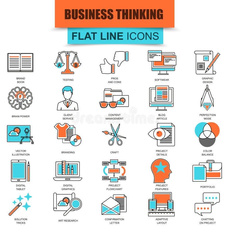 Set cienki kreskowy ikona biznesu zawartości zarządzanie royalty ilustracja