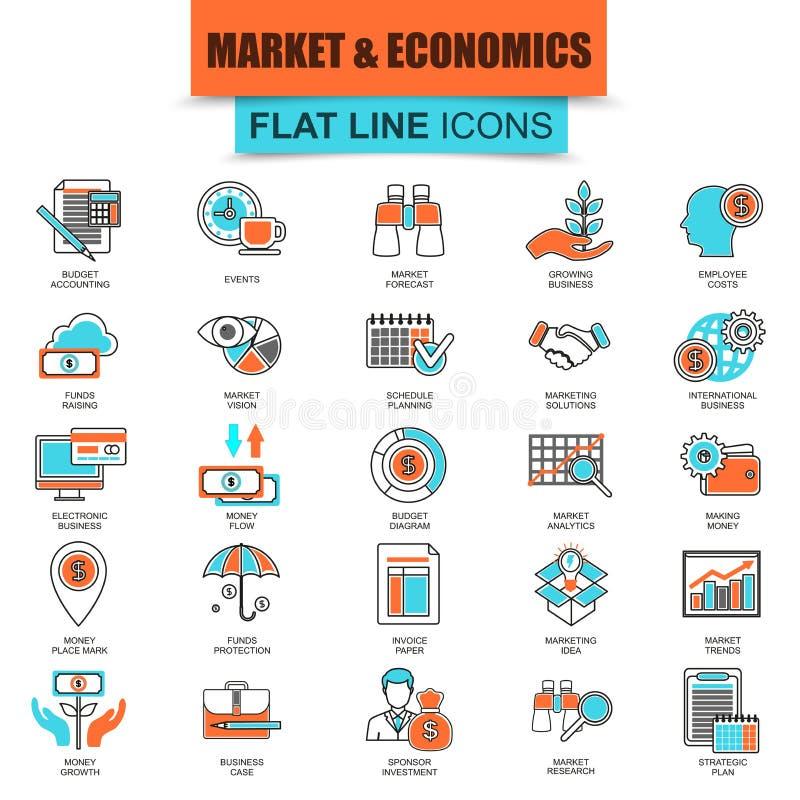 Set cienki kreskowy ikona rynek i ekonomie, pieniężne usługa royalty ilustracja