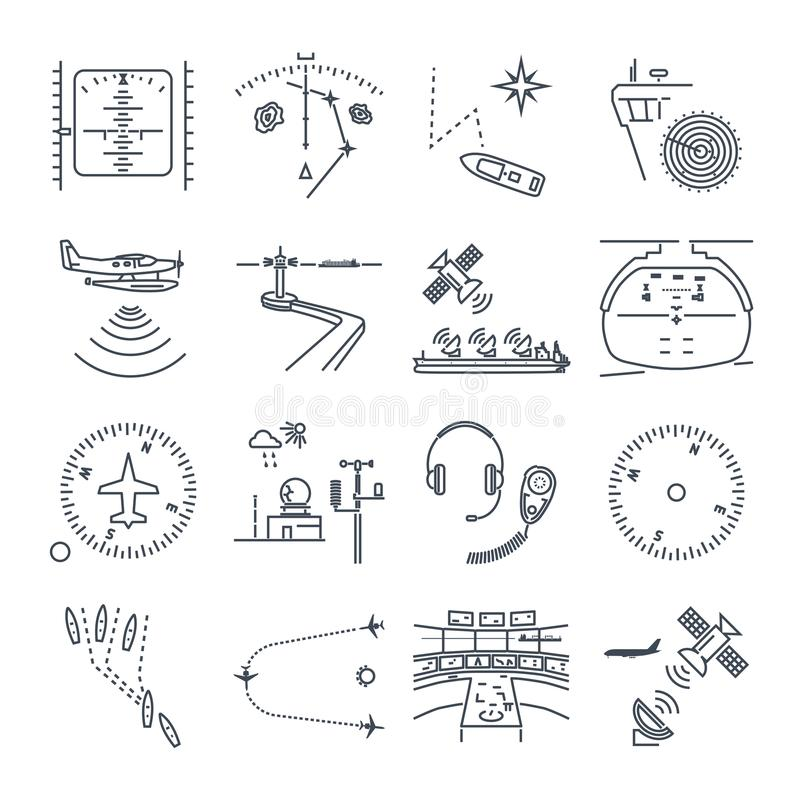 Set cienki kreskowy ikony morze i lotnicza nawigacja, wyposażenie ilustracji