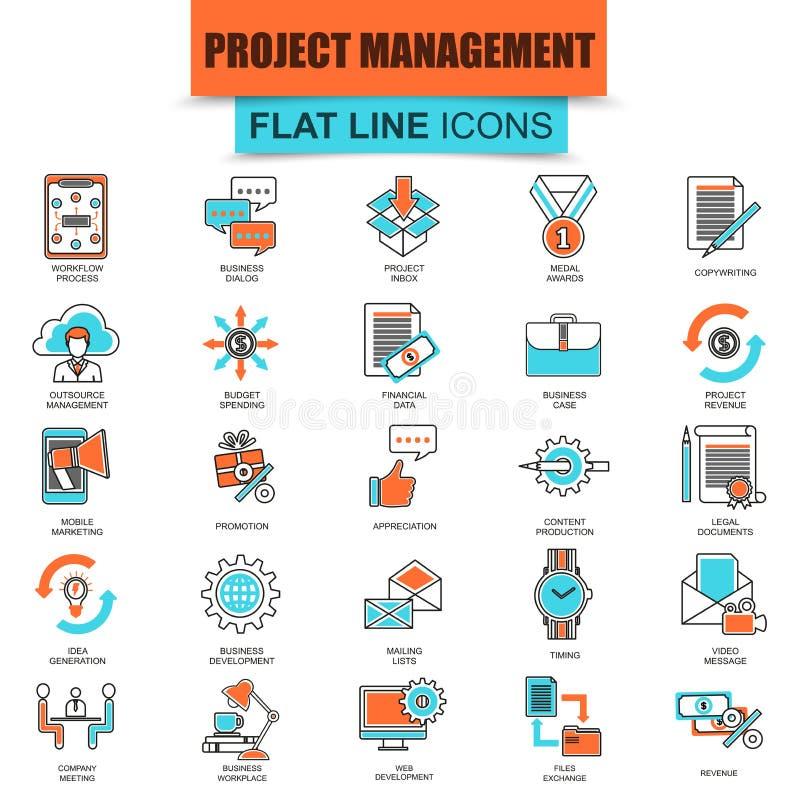 Set cienki kreskowy ikony zarządzanie projektem, biznesowy przywódctwo ilustracja wektor