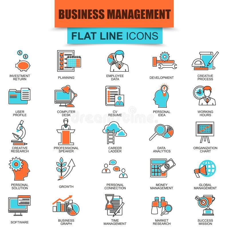 Set cienki kreskowy ikony zarządzanie przedsiębiorstwem, przywódctwo ilustracji