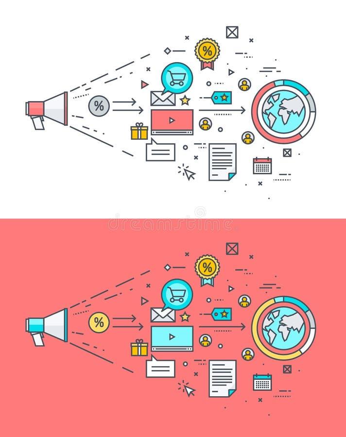 Set cienki kreskowy płaski projekta pojęcie na temacie cyfrowy marketing ilustracja wektor