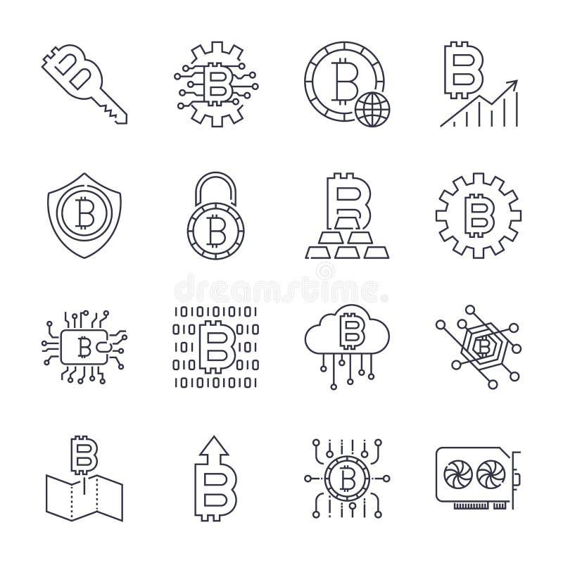 Set Cienki Kreskowy uderzenie Bitcoin i Cryptocurrency Wektorowe ikony ilustracji