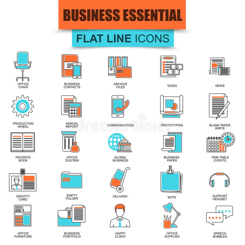 Set cienkich kreskowych ikon biznesowi narzędzia, biura istotny wyposażenie ilustracja wektor