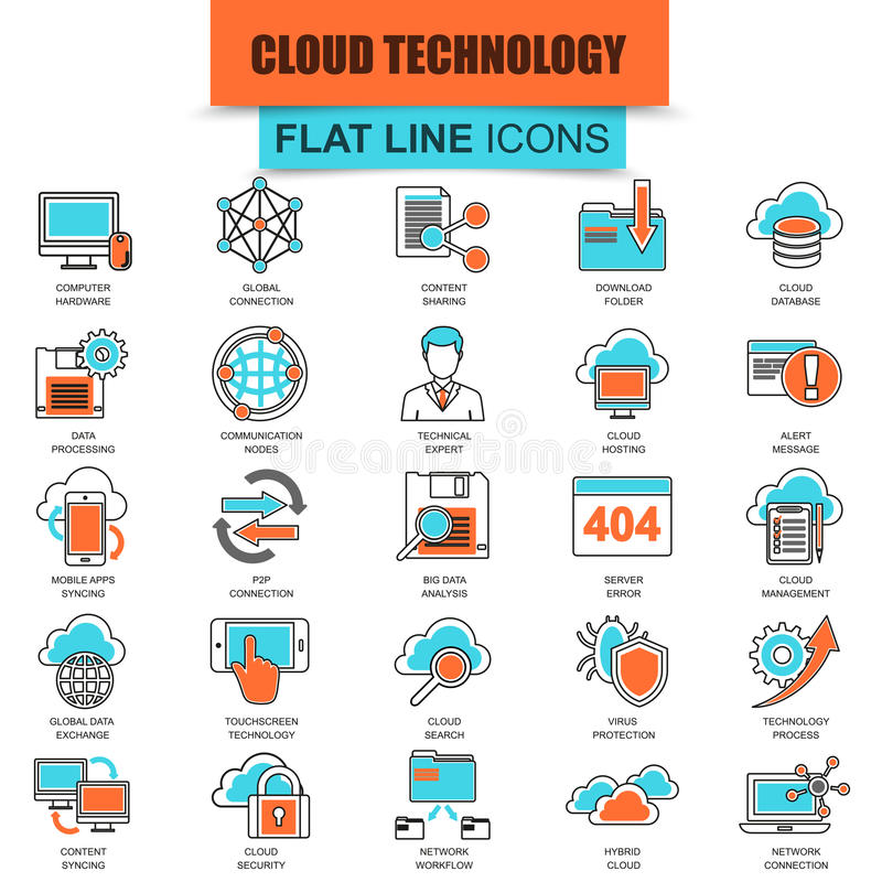 Set cienkich kreskowych ikon dane technologii obłoczne usługa ilustracja wektor