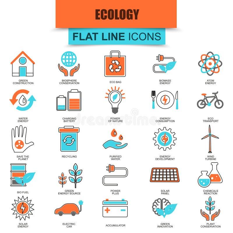 Set cienkich kreskowych ikon ekologiczny energetyczny źródło, środowiskowy bezpieczeństwo royalty ilustracja
