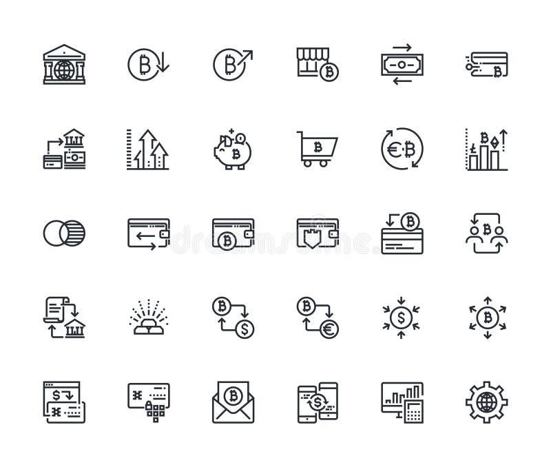 Set cienkie kreskowe cryptocurrency ikony ilustracja wektor