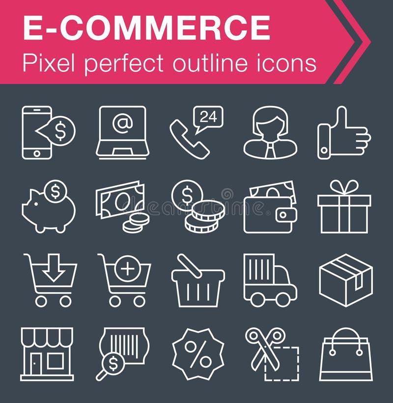 Set cienkie kreskowe handel elektroniczny ikony ilustracja wektor