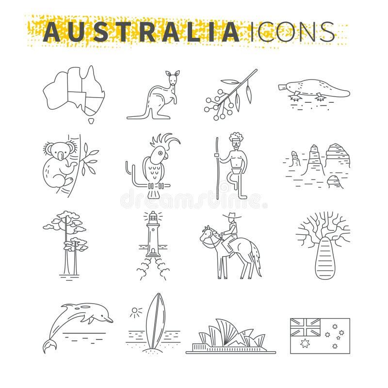 Set cienkie kreskowe ikony Australijski podróż temat royalty ilustracja