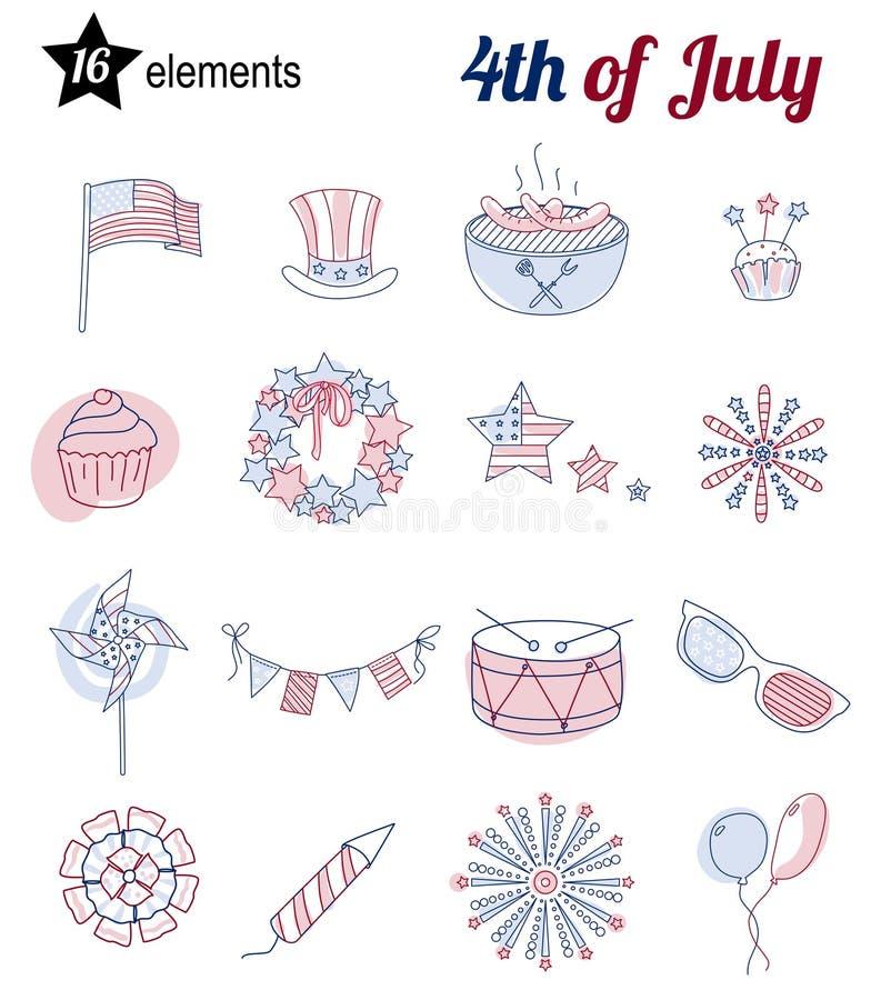 Set cienkie kreskowe ikony dla usa dnia niepodległości royalty ilustracja