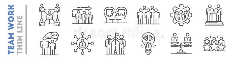 Set cienkie kreskowe ikony o drużynowej pracie odizolowywającej na bielu Współpraca, partnerstwo logo ilustracji
