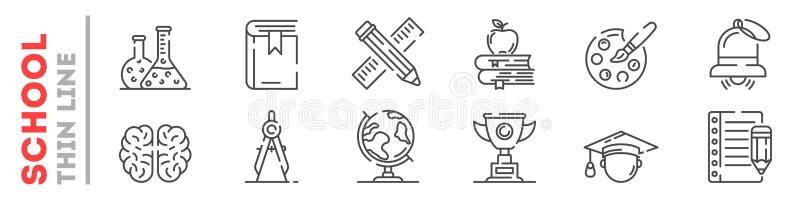 Set cienkie kreskowe ikony o edukacji przy szkołą, szkoła wyższa, uniwersytet odizolowywający na bielu royalty ilustracja