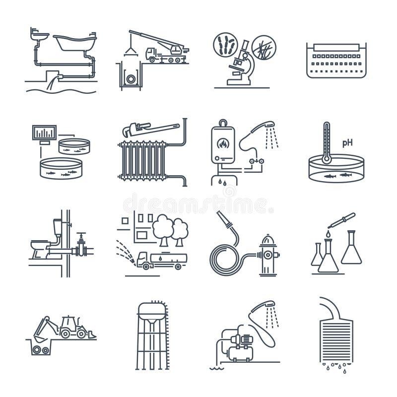 Set cienkie kreskowe ikony pionuje i kanalizaci naprawa, usługa royalty ilustracja