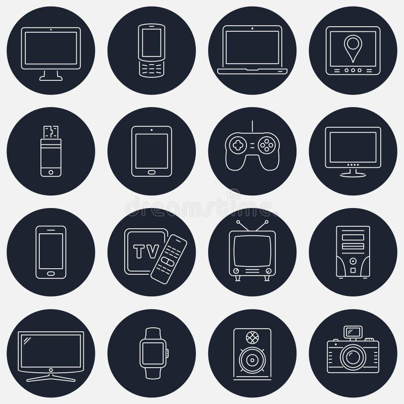 Set cienkie kreskowe przyrząd ikony dla mobilnych apps i sieć projekta royalty ilustracja