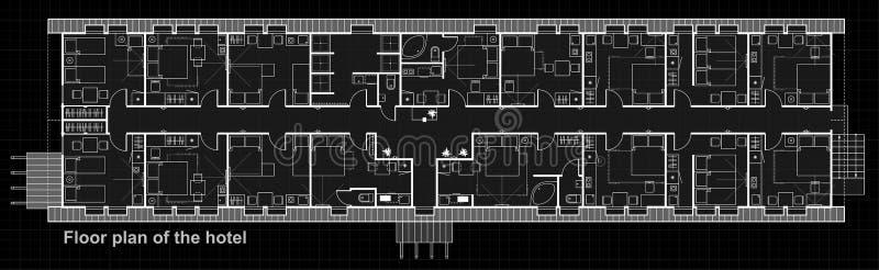 Set cienkie kreskowe wektorowe ikony dla wewnętrznego planowania z meble Podłogowego planu projekta projekt pokoje hotelowi ilustracja wektor