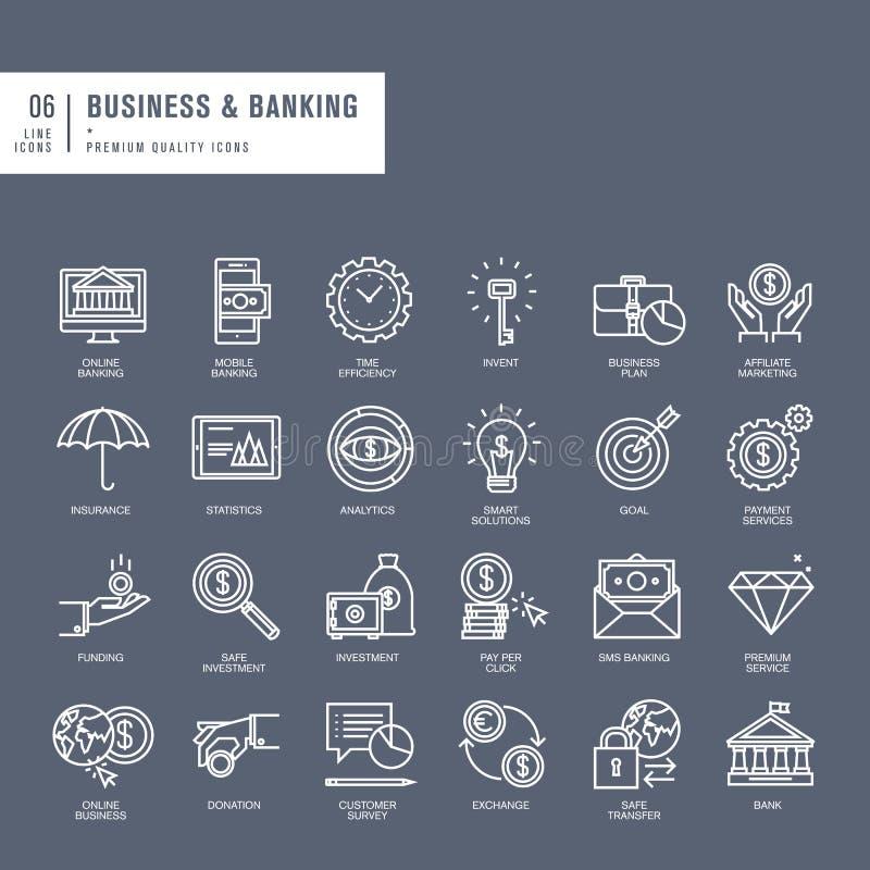 Set cienkie linii sieci ikony dla biznesu i bankowości ilustracja wektor
