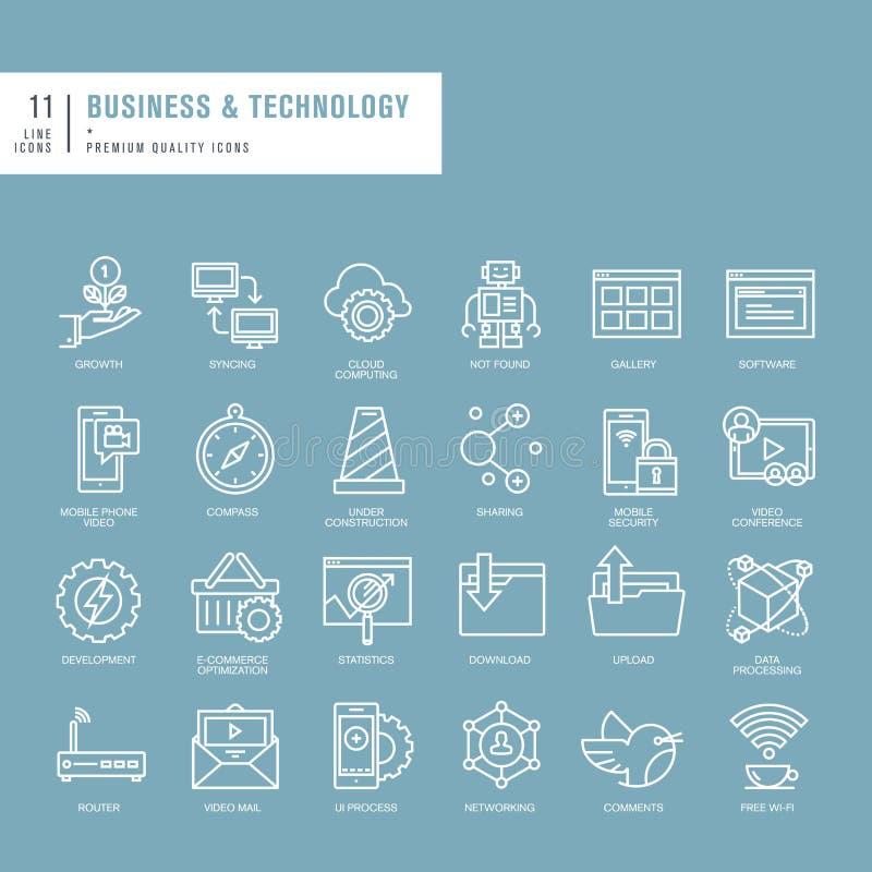 Set cienkie linii sieci ikony dla biznesu i technologii royalty ilustracja