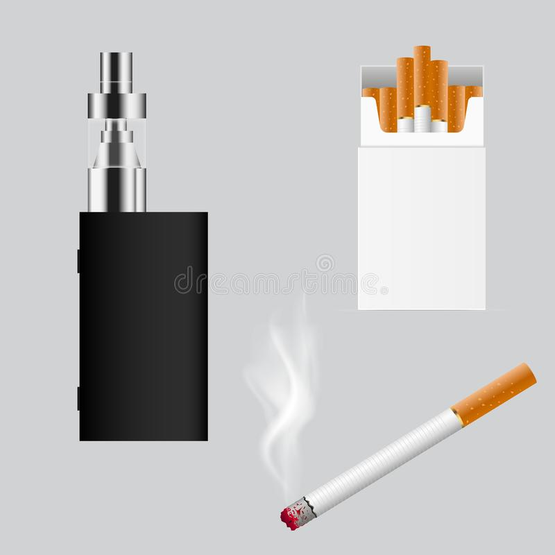 Set of cigarette types. e cigarette . Vector . Set of cigarette types. e cigarette . Vector vector illustration