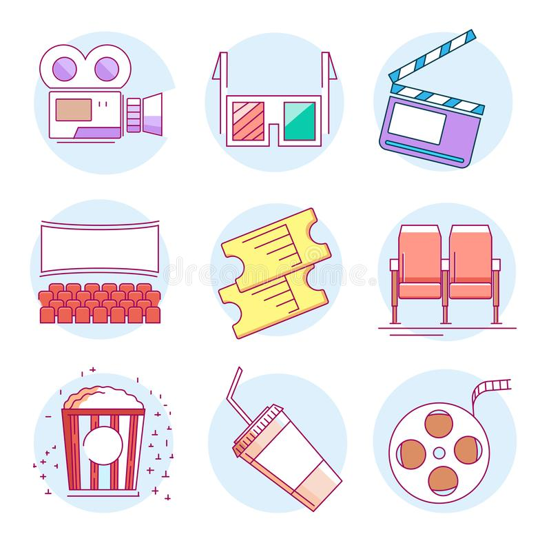Set of cinema icons. Modern linear pictogram of cinema. Set of cinema icons. Contains such icons as popcorn, glasses, camera, filmstrip, screen, chair, ticket royalty free illustration