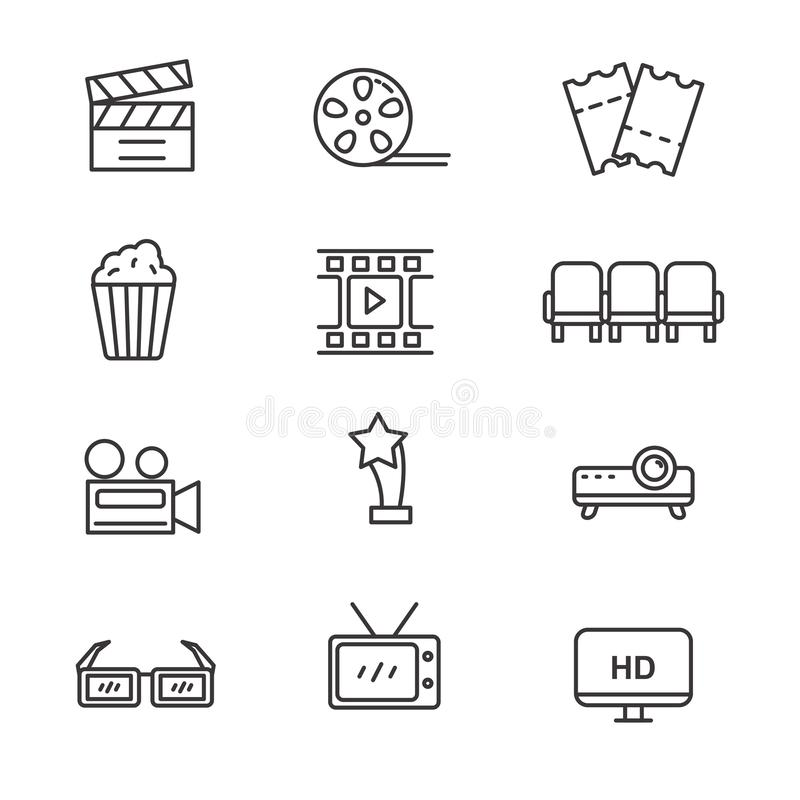 Set of cinema and movie related vector illustration. With simple line design suitable for icon or doodle vector illustration