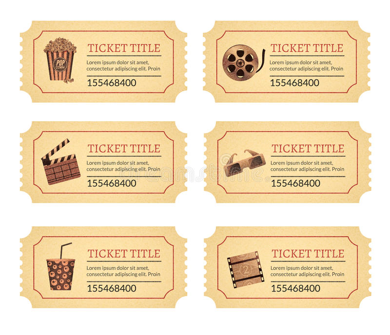Set cinema movie tickets. Old vintage tickets labels with popcorn food and drink and other icons vector illustration