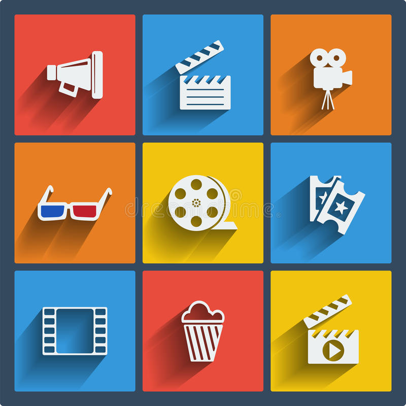 Set of 9 cinema web and mobile icons. Vector. royalty free illustration