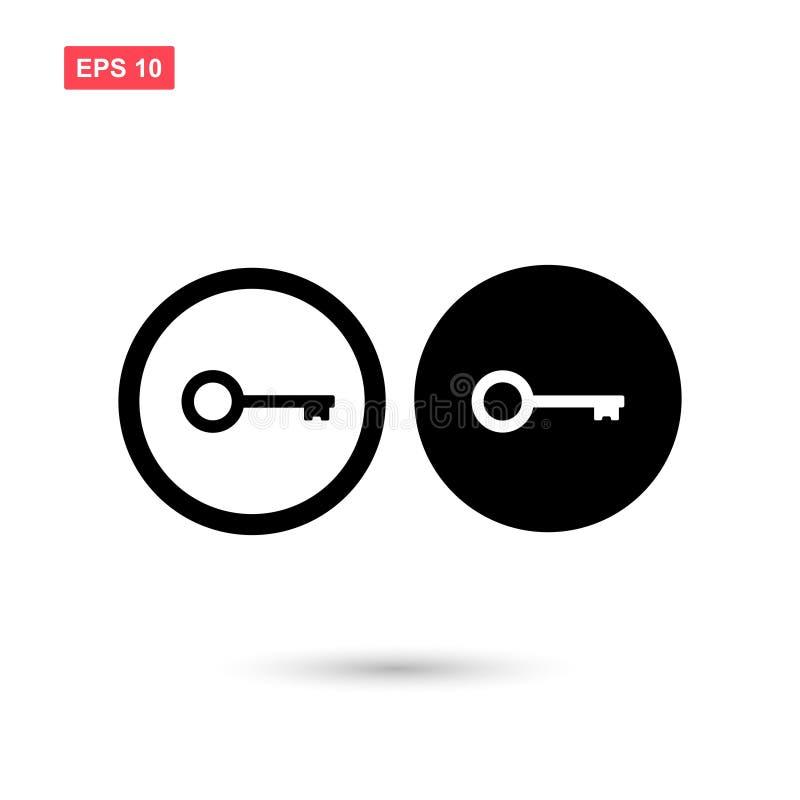 Set of circle black key icon vector isolated 2 royalty free illustration