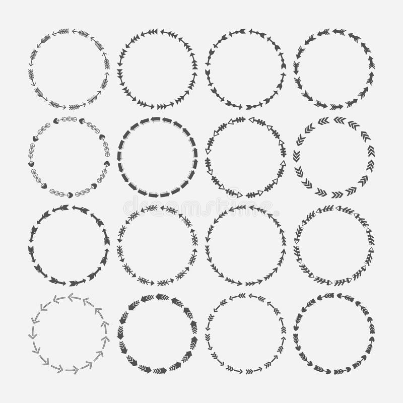 Set of circle border decorative, arrows symbol patterns and design elements. For frameworks, badges, emblems, tags, and banners royalty free illustration