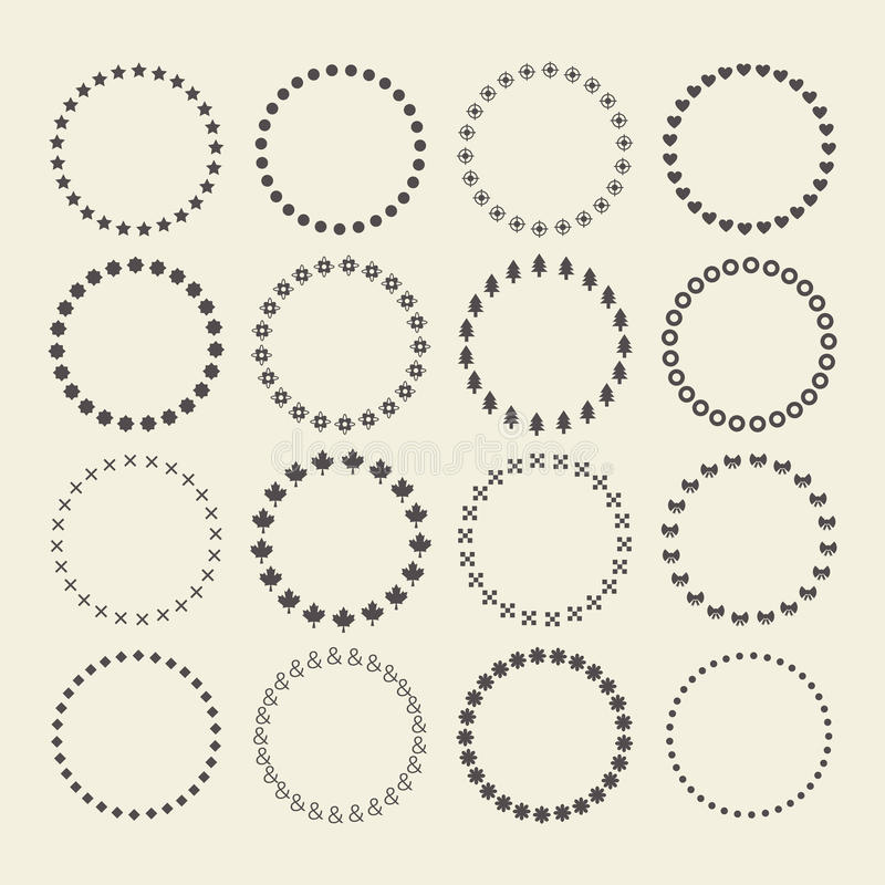 Set of circle border decorative symbol patterns and design elements. For frameworks, badges, tags, and banners royalty free illustration