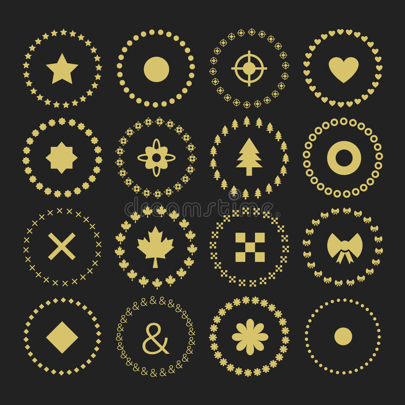 Set of circle border decorative symbol patterns and design elements royalty free illustration