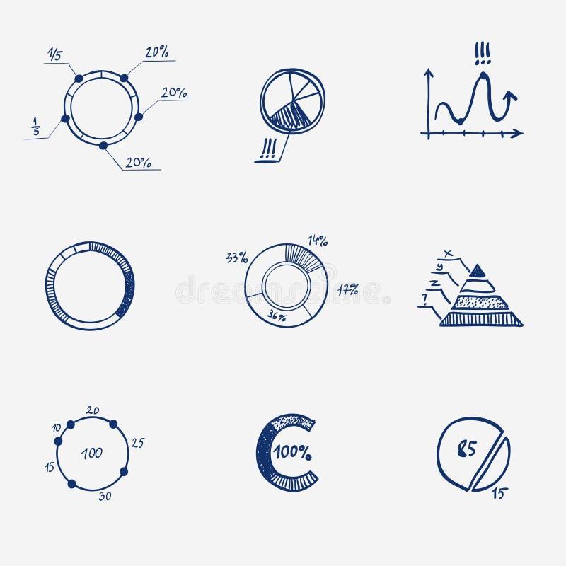 Set of circle chart diagram graph pie hand draw. stock illustration