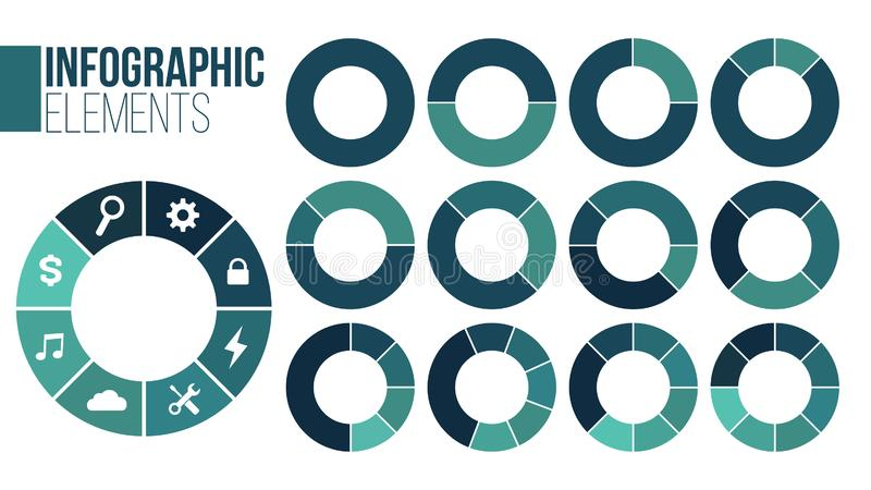 Set of circle chart infographic templates with1-8 options for presentations, advertising, layouts, annual reports. Vector. Illustration isolated on white royalty free illustration