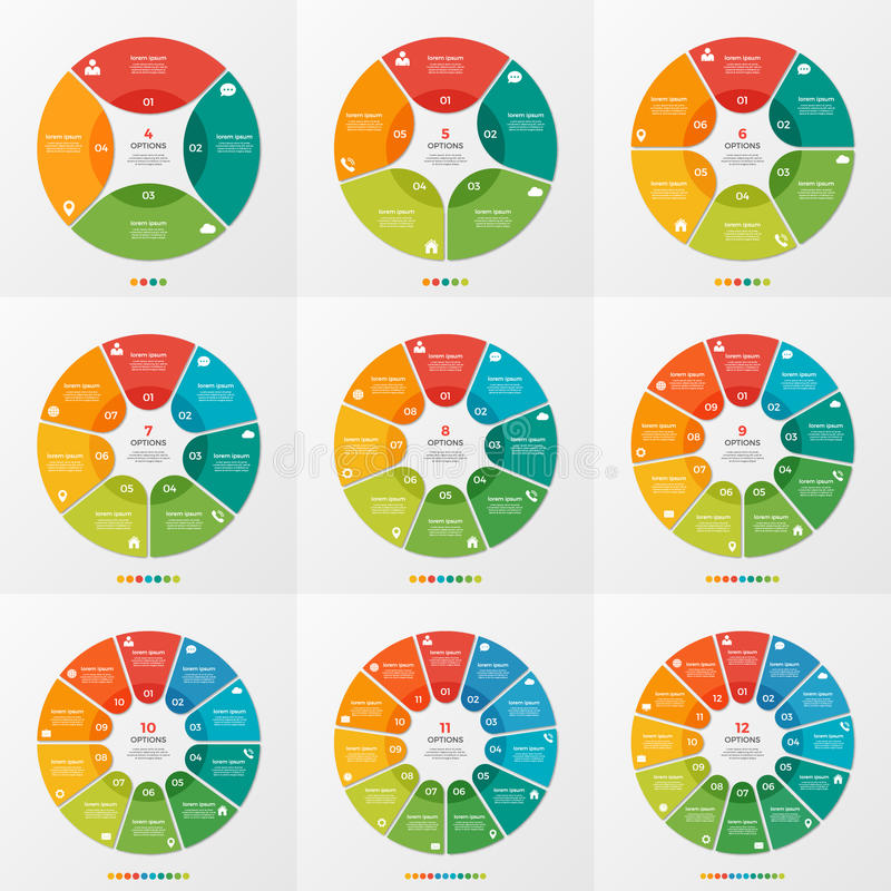 Set of 4-12 circle chart infographic templates. For presentations, advertising, layouts, annual reports, web design royalty free illustration