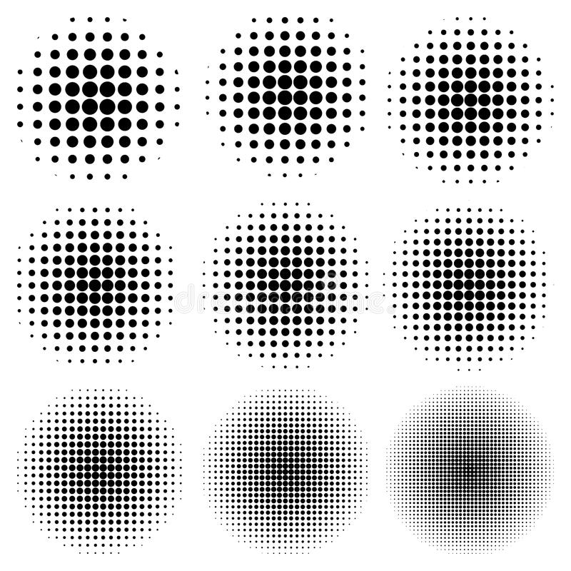 Set circle effect halftone dot pattern, vector to create a pop art design, comic rays style halftone royalty free illustration