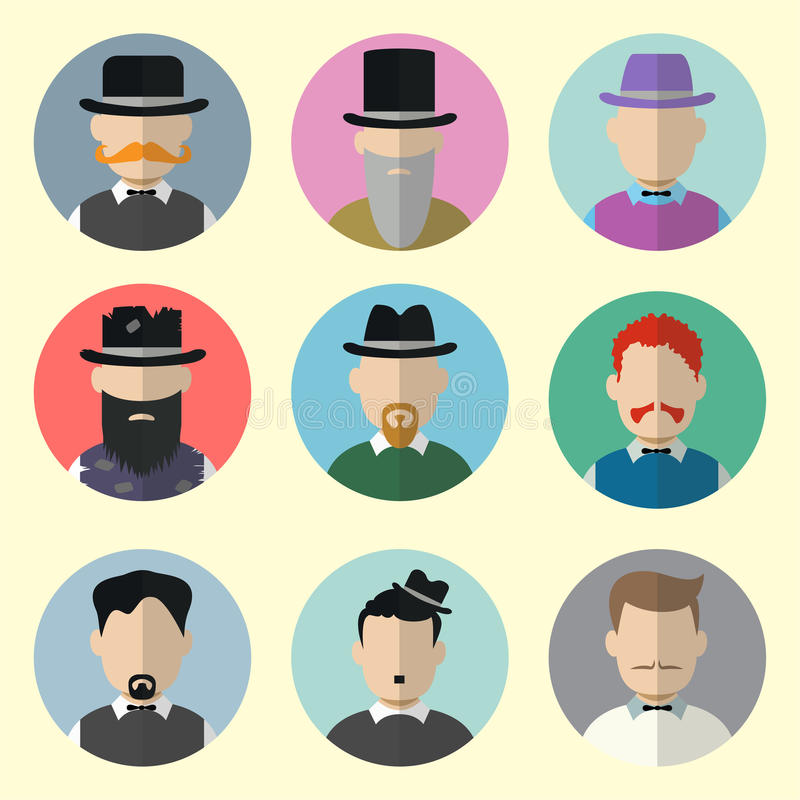 Set of Circle Icons with Man vector illustration