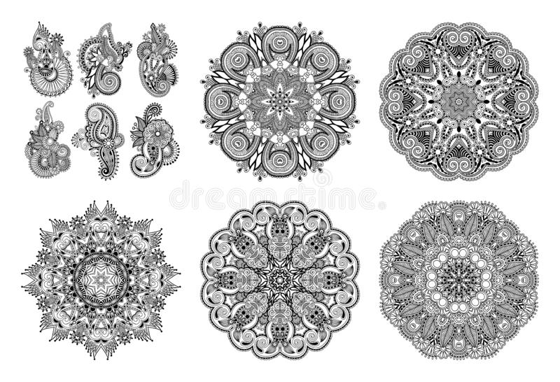 Set of circle lace ornament, round ornamental geometric doily pattern in indian kalamkari style vector illustration