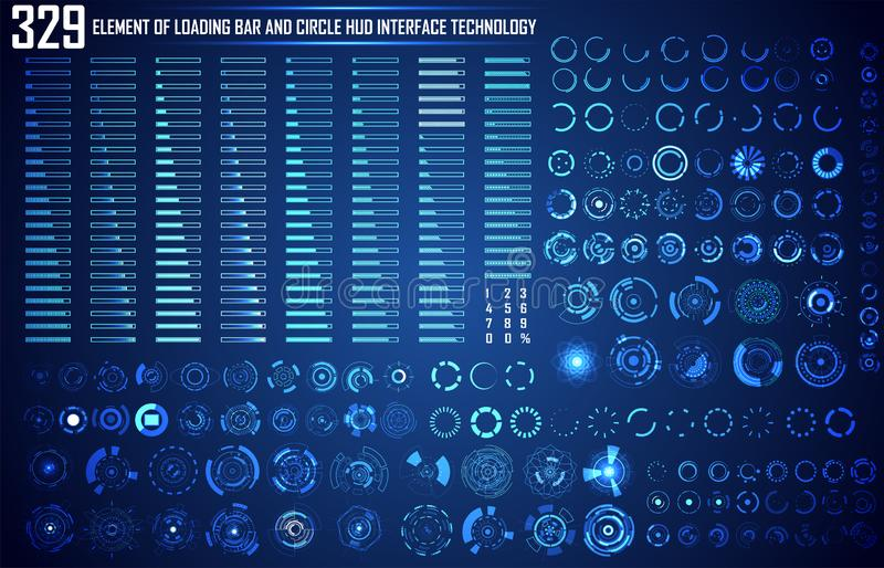 Set of Circle and Loading Bar Abstract Digital Technology UI Fut. Uristic HUD Virtual Interface Elements Sci- Fi Modern User For Graphic Motion, Theme Technology vector illustration