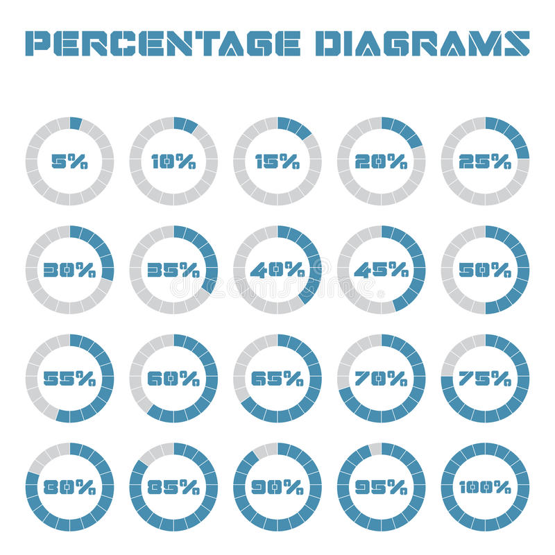 Set of circle percentage diagrams for infographics, 5 10 15 20 25 30 35 40 45 50 55 60 65 70 75 80 85 90 95 100 percent stock illustration