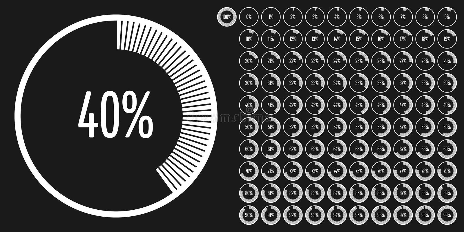 Set of circle percentage diagrams meters from 0 to 100 vector illustration