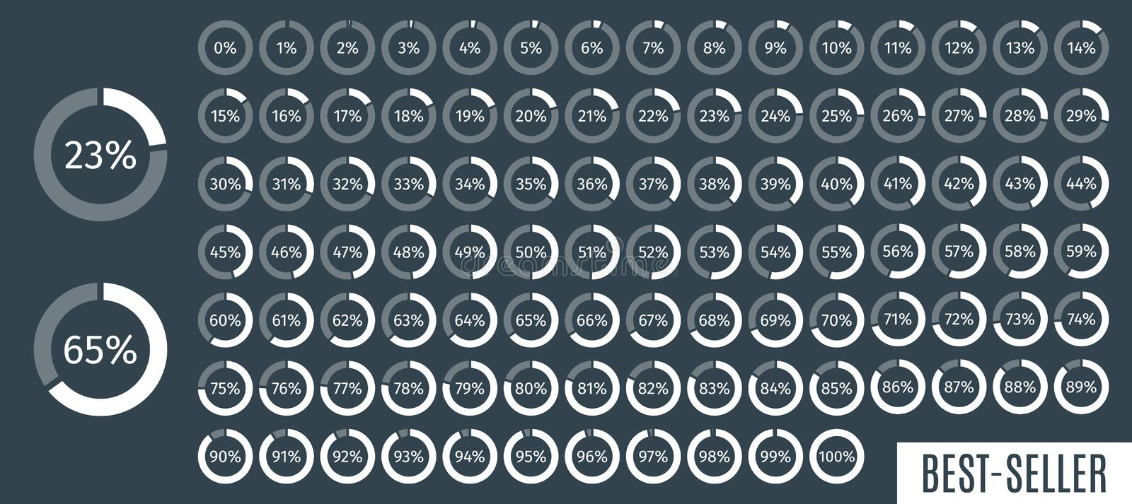 Set of circle percentage diagrams from 0 to 100 for infographics, dark, 5 10 15 20 25 30 35 40 45 50 55 60 65 70 75 80 stock illustration