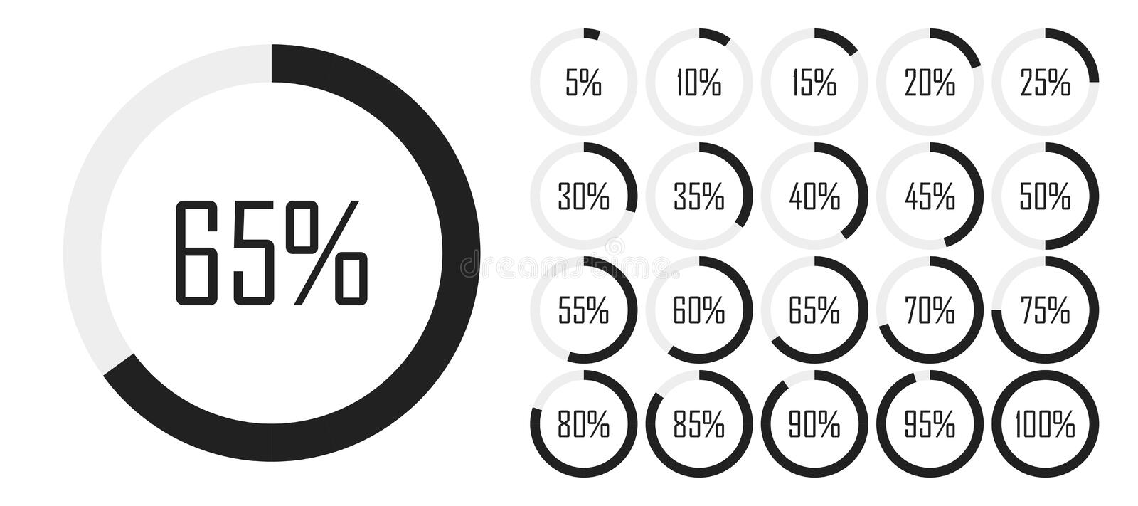 Set of circle percentage diagrams from 0 to 100 for infographics, lignt, 5 10 15 20 25 30 35 40 45 50 55 60 65 70 75 80 85 90 95 vector illustration