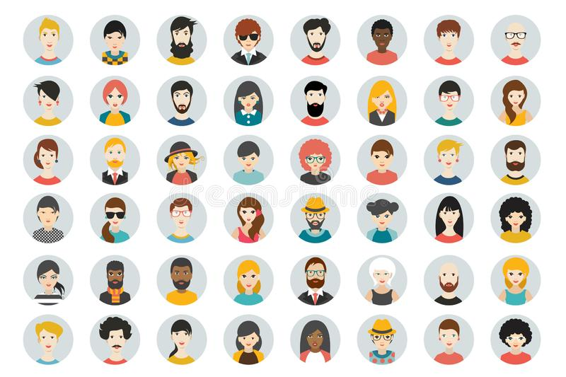Set of circle persons, avatars, people heads different nationality in flat style. Vector royalty free illustration