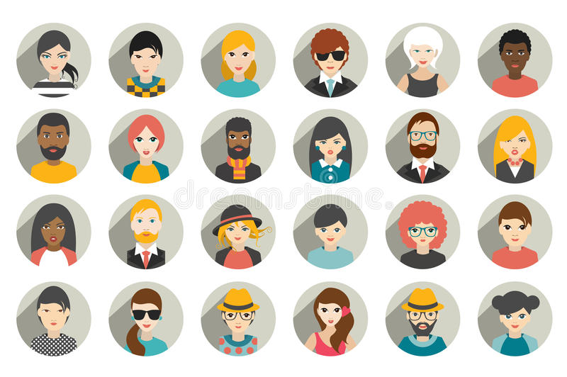 Set of circle persons, avatars, people heads different nationality in flat style. Vector stock illustration