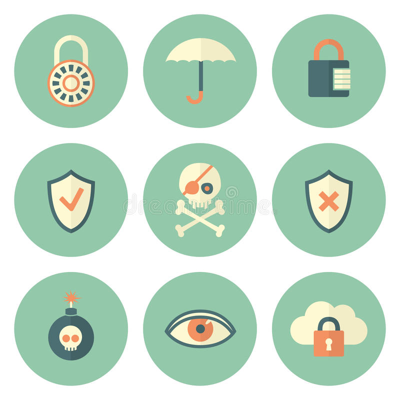 Set of Circle Security Icons stock illustration