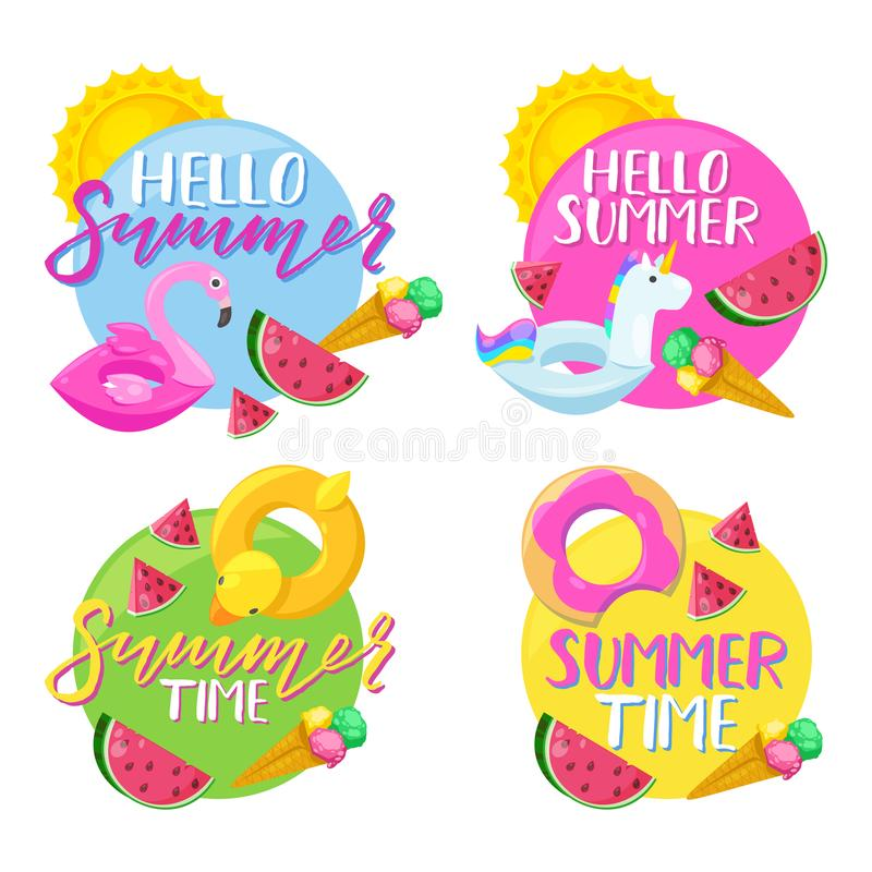 Set of circle summer stickers, badges, labels and tags. Hello summer vector illustration. royalty free illustration