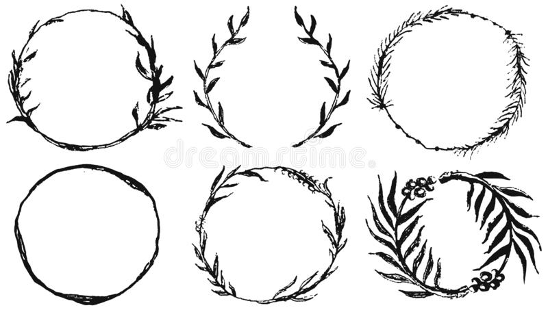 Set of circles frames, doodle hand drawn decorative wreaths with branches, herbs, plants, leaves and flowers, florals. Vector. Set of round frames, doodle hand royalty free illustration