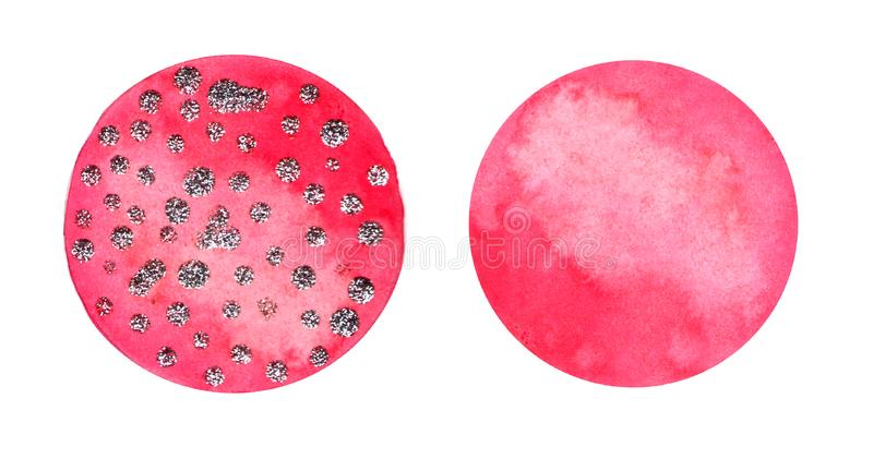 Set of circles hand drawn watercolor, isolated. Abstraction background. Pink circle shape design elements xmas. Set of circles hand drawn watercolor, isolated stock photography