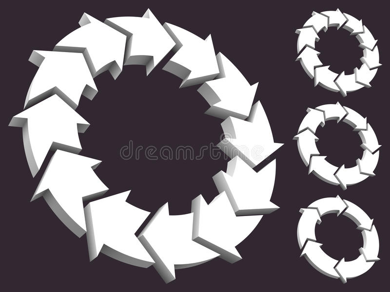 Set of circular arrows 3D. This file is AI 10 EPS vector without gradient meshes and blending modes stock illustration